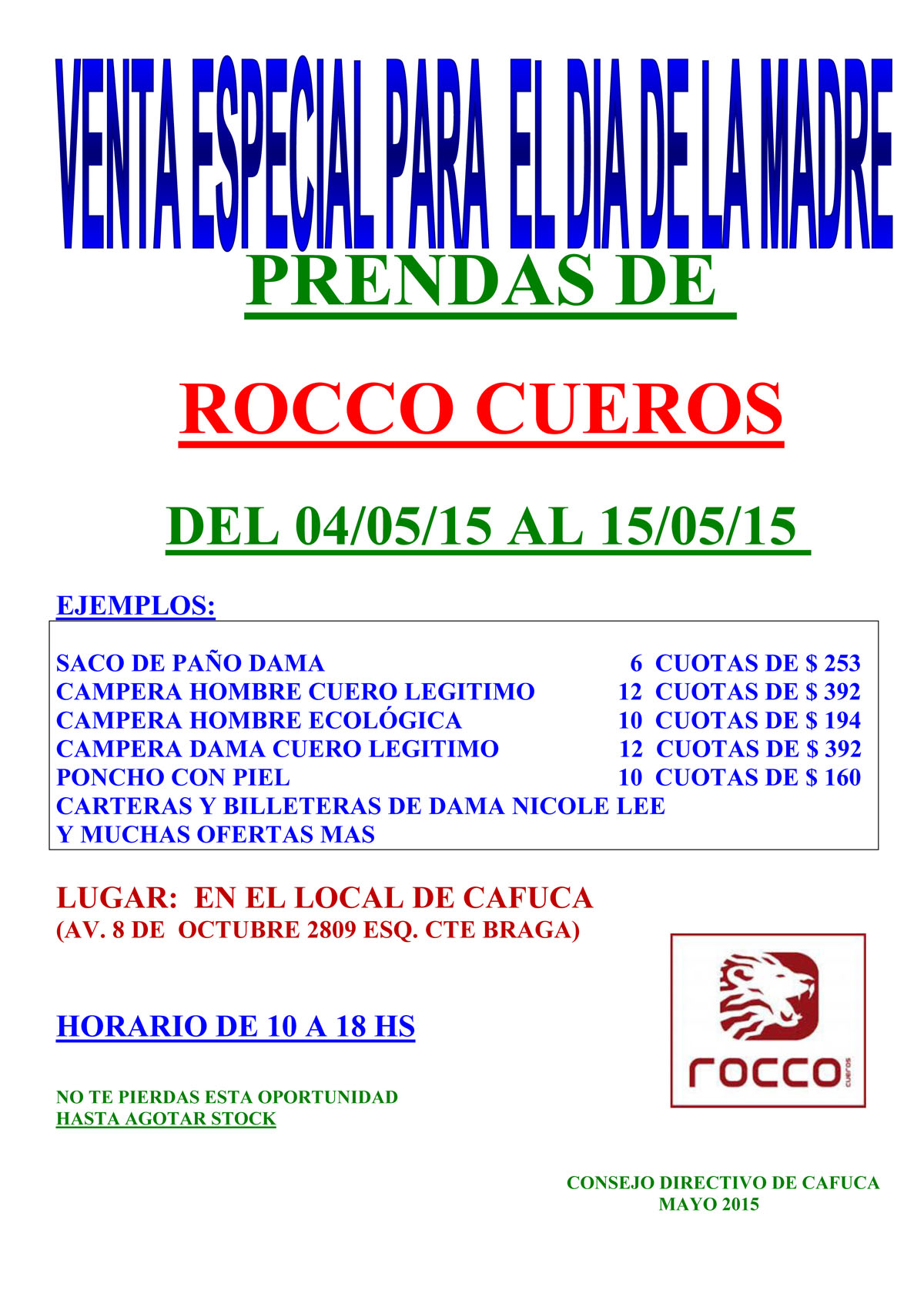 CARTEL-VENTAS- ROCCO-CUEROS-2015