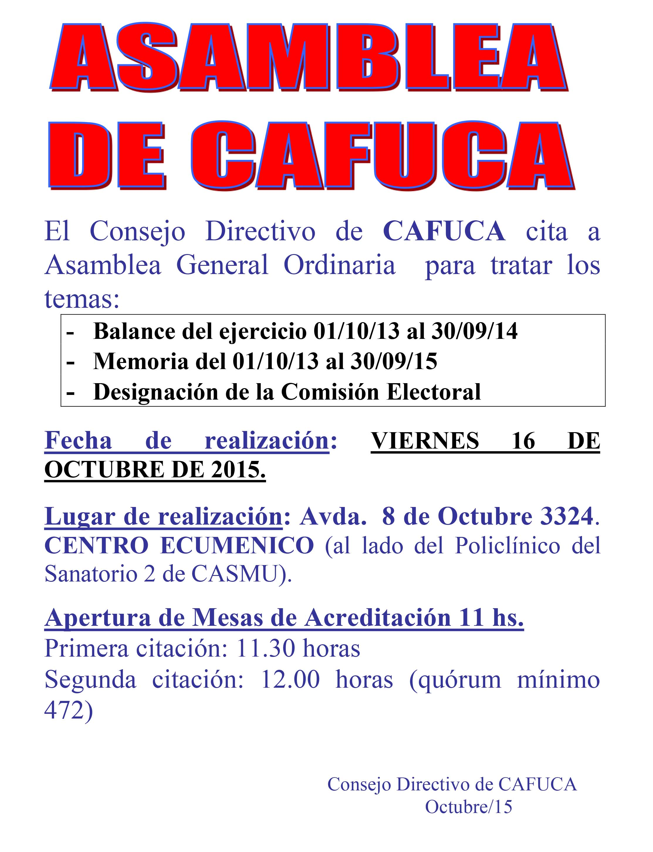 ASAMBLEA GENERAL ORDINARIA  DE CAFUCA