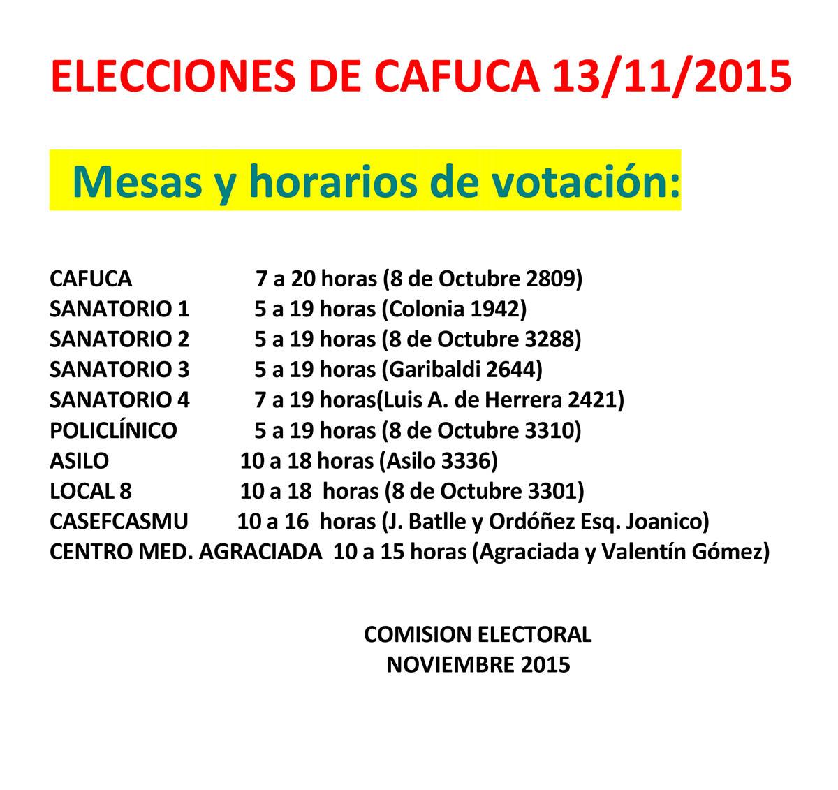 ELECCIONES DE CAFUCA 13/11/15