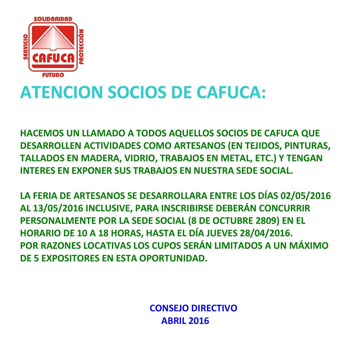 ATENCION SOCIOS DE CAFUCA :