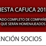 Lista de compañeros que fueron homenajeados en la Fiesta 2016 de CAFUCA