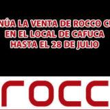 Venta de prendas de Rocco Cueros en el local de CAFUCA